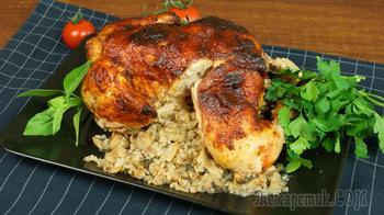 Фаршированная курица запечённая в духовке
