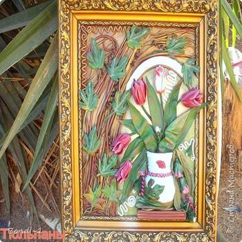 Тюльпаны (Картина из кожи)