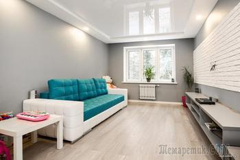 Красная прихожая и серый зал. Ремонт с обстановкой в «двушке» за $11 000