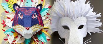 Поделки из бумаги, превращенные в маски животных