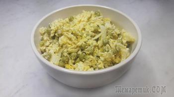 """Салат """"Чайка"""" с сыром, яйцами и горошком"""