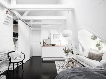 Черно-белая студия на последнем этаже (31 кв. м)