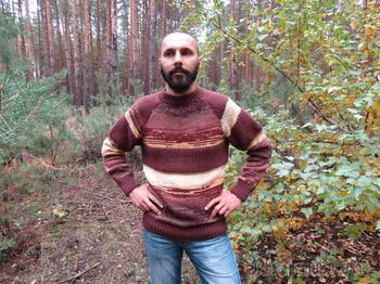 Мужской свитер-реглан из пряжи секционного окрашивания