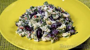 Вкусно, поэтому всегда готовлю. Салат с фасолью и крабовыми палочками.
