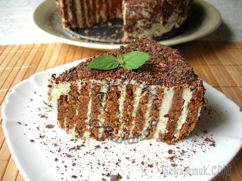 Полосатый торт без выпечки. Вкусный и быстрый десерт!