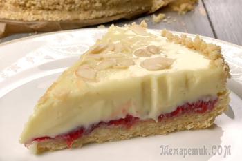 Торт без выпечки из белого шоколада и клубники
