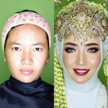 Индонезийские невесты до и после нанесения макияжа