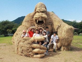 Скульптуры из соломы на фестивале в Японии