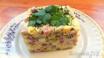 Классический зимний салат оливье с колбасой