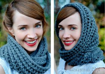Вяжем модный шарф снуд, хомут, шарф с крупными косами и шарф капюшон