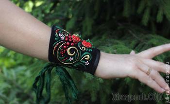 Создаем текстильный браслет с вышивкой по мотиву хохломской росписи