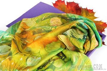 Расписываем платок «Листопад» в технике горячий батик