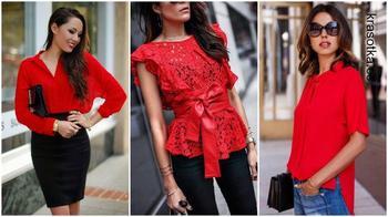 Стильные красные блузки