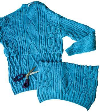 Второй шанс: шапка, варежки и шарф снуд из пуловера