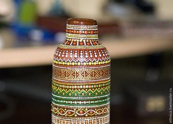 Роспись бутылки в африканском стиле