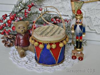Мастерим ёлочную игрушку в винтажном стиле «Старый барабан»
