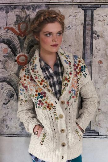 Украшаем свитер яркими цветами из войлока