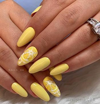 Лимонный маникюр: 30 невероятно привлекательных и эффектных примеров