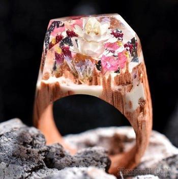 Шикарные кольца из дерева и смолы