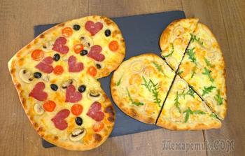 """Пицца """"Валентинка"""" с белым соусом. Идеальное дрожжевое тесто для пиццы"""