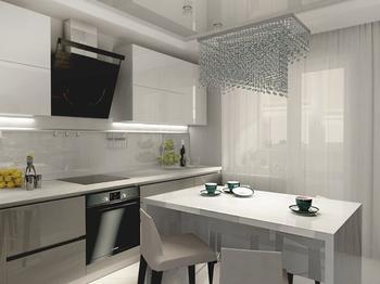 Спокойный интерьер кухни в нейтральных тонах