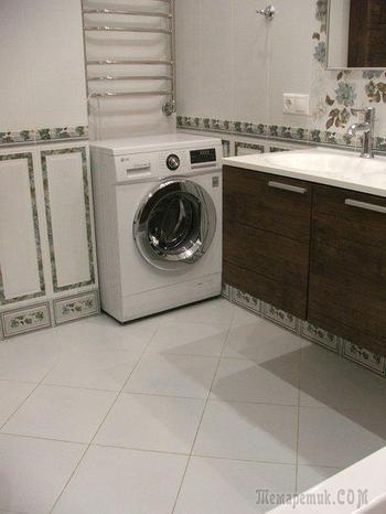 Ванная комната: нежные цветочки, брутальные шкафы