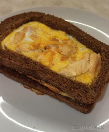 Необычный и очень вкусный бутерброд - сэндвич с курицей и яйцом