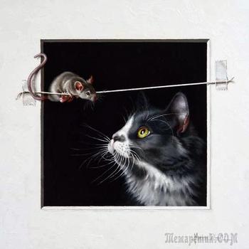 """""""Где мышка, там и кошка"""" французская художница Марина Диул и её работы"""
