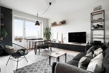 Малогабаритка, в которой смело использовали чёрный цвет: 33 квадратных метра стильного интерьера
