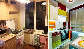 До и после: блестящее преображение кухни в «хрущевке» площадью всего 6 кв. метров