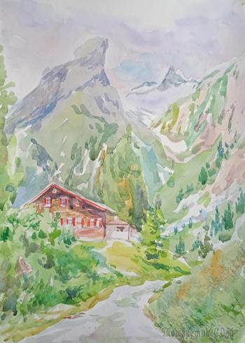 Австрийский пейзаж акварельными красками. Процесс урока