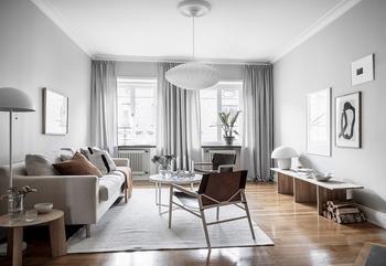 Гармоничная квартира в серых тонах в Швеции