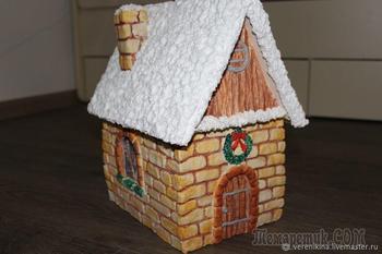 Делаем из соленого теста новогодний светящийся домик