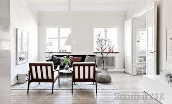 Весенняя скандинавская трёшка 88 м² с деревянными качелями