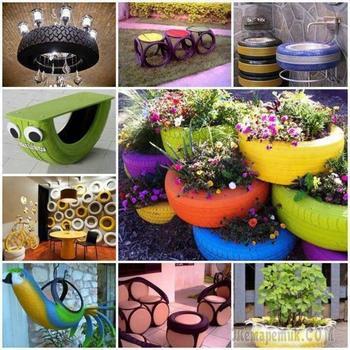 Поделки из шин — интересные и креативные идеи украшения сада и участка