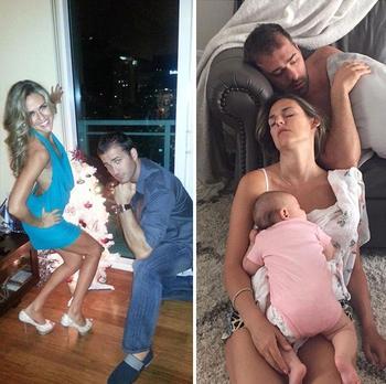Люди делятся фотографиями до и после того как они стали родителями