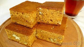 Карамельный пирог с орехами - простой и быстрый рецепт