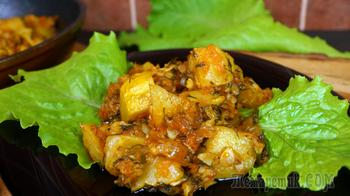 Патиссоны тушёные в сковороде с овощной пассеровкой