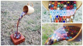 Скульптура из дерева и цветных карандашей от Боба Дюка