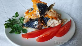 Скумбрия с овощами в банке в духовке