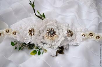 Создаем красивый пояс на свадебное платье