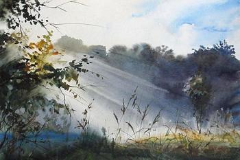 """""""И освежительный туман Встаёт с оттаявших полей..."""" Акварели Ильи Ибряева"""