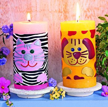 Мастерим с детьми: декор свечей и рамки для фото своими руками