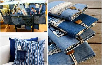 Вещицы для дома, которые можно сделать из старых джинсов, если выбросить их рука не поднимается