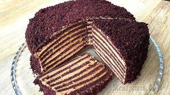Без раскатки коржей! На сковороде! Бархатный торт с кремом «Мороженое»