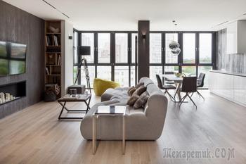 «50 оттенков серого» в новой «двушке» с панорамными окнами