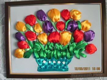 "Картина ""Тюльпаны"" из Атласных Лент"
