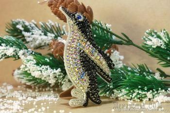 Вышиваем искрящуюся брошь «Пингвин»