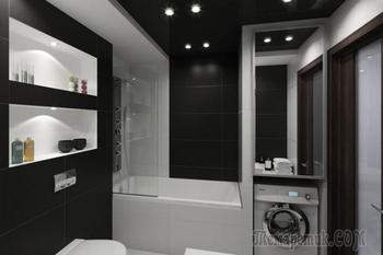 Интерьер ванной в черно-белых тонах 5 кв. м.