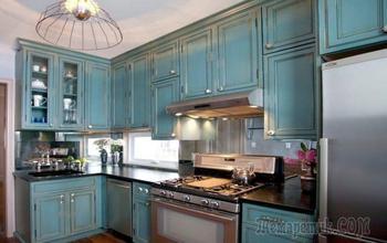 Интерьер бирюзовой кухни в стиле эклектика